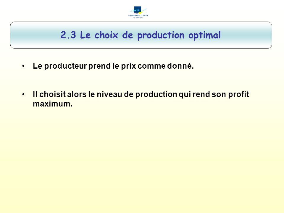 2.3 Le choix de production optimal