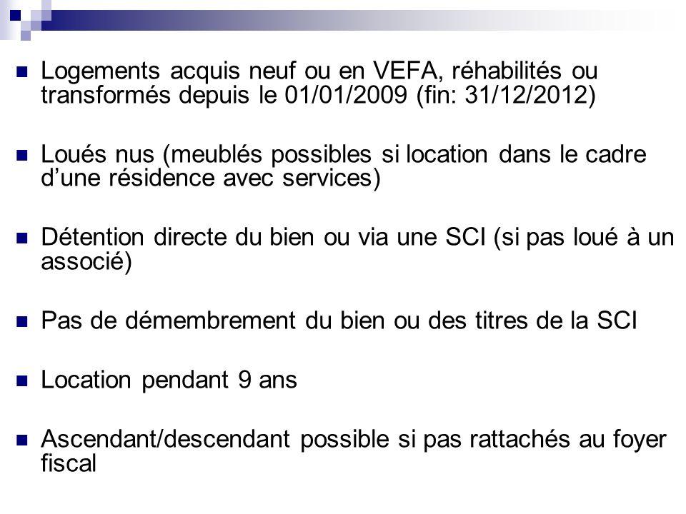 Logements acquis neuf ou en VEFA, réhabilités ou transformés depuis le 01/01/2009 (fin: 31/12/2012)