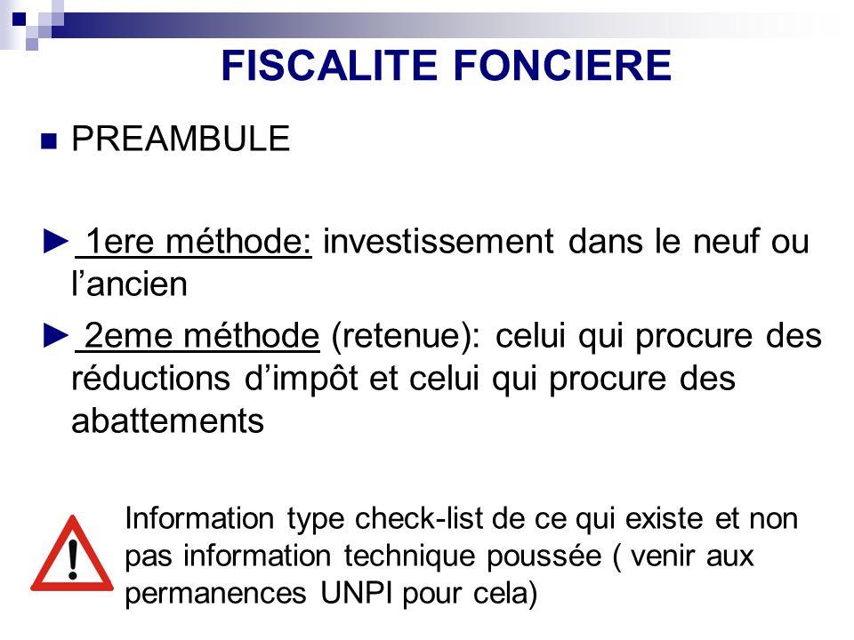 FISCALITE FONCIERE PREAMBULE