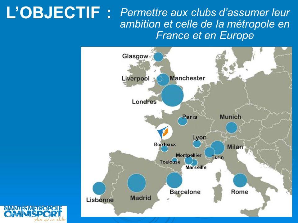 L'OBJECTIF : Permettre aux clubs d'assumer leur ambition et celle de la métropole en France et en Europe.