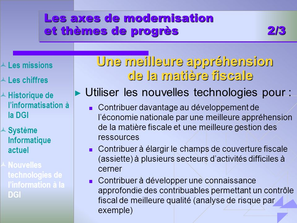 Les axes de modernisation et thèmes de progrès 2/3
