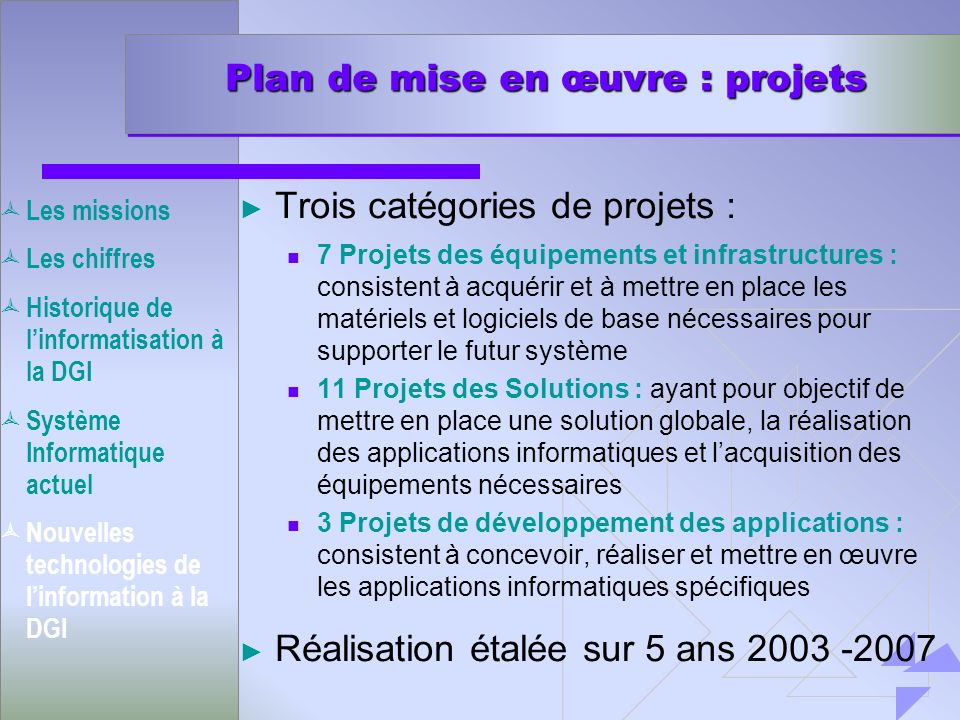 Plan de mise en œuvre : projets