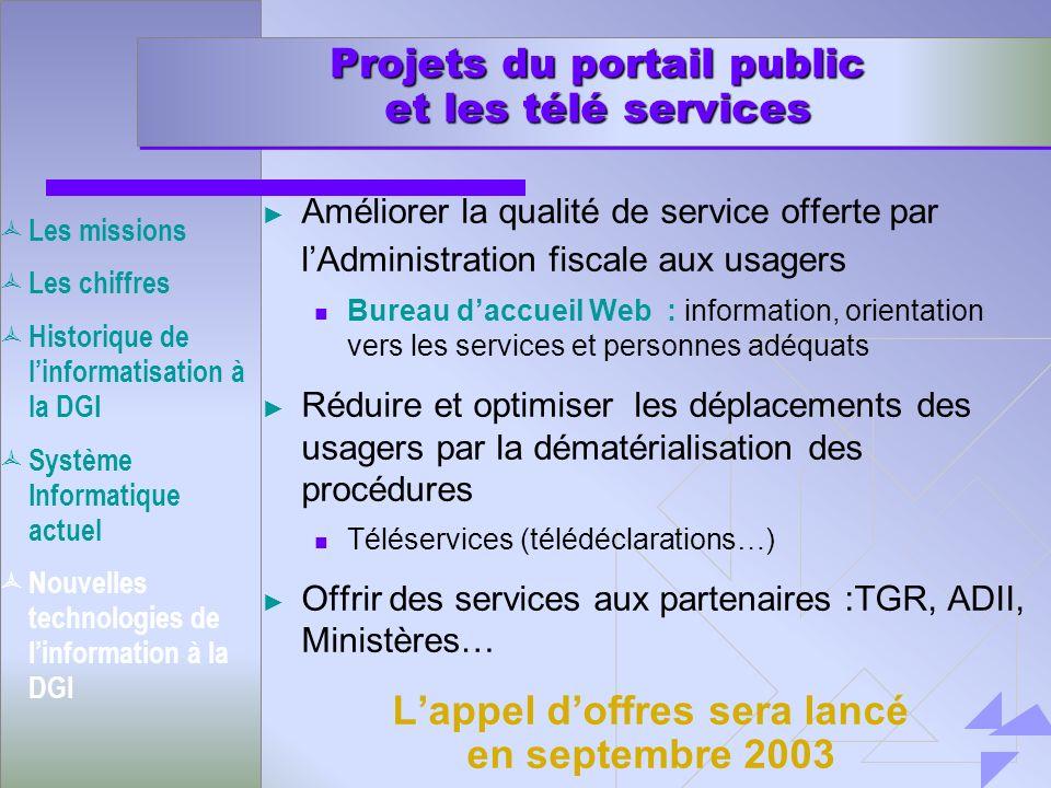 Projets du portail public et les télé services