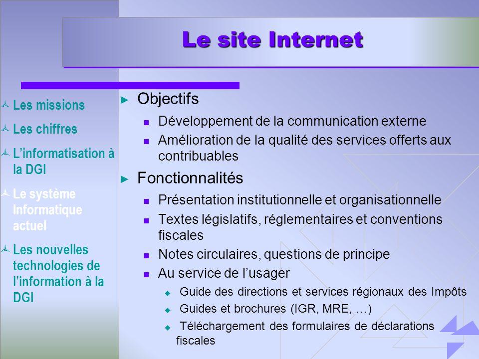 Le site Internet Objectifs Fonctionnalités Les missions Les chiffres