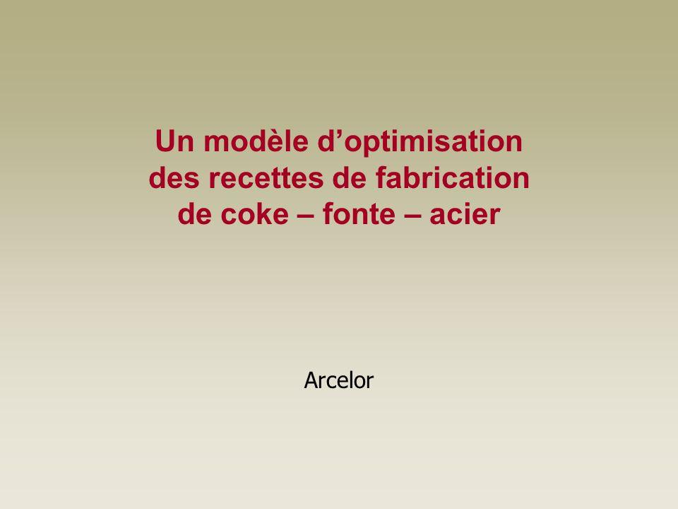 Un modèle d'optimisation des recettes de fabrication de coke – fonte – acier