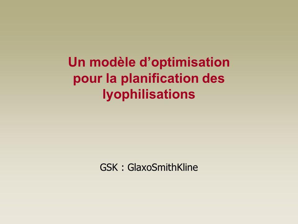 Un modèle d'optimisation pour la planification des lyophilisations
