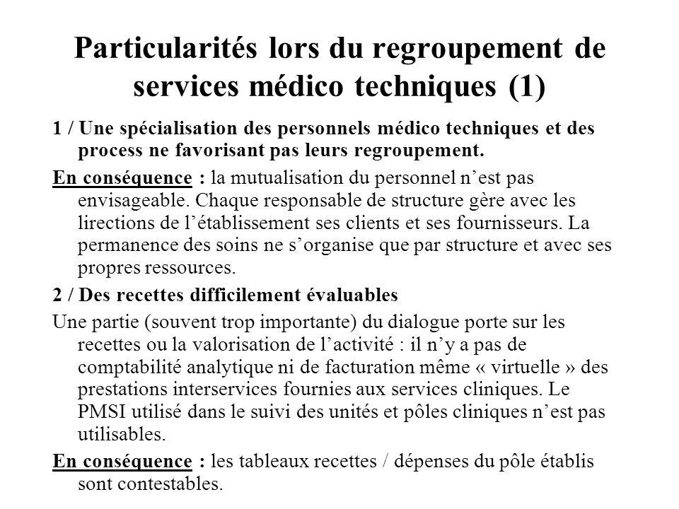 Particularités lors du regroupement de services médico techniques (1)