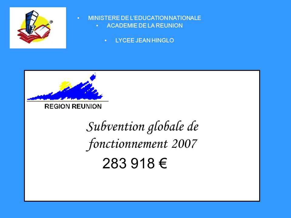 Subvention globale de fonctionnement 2007