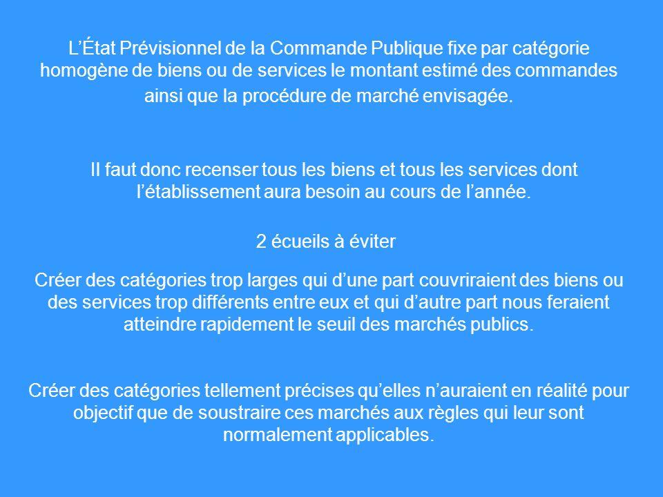 L'État Prévisionnel de la Commande Publique fixe par catégorie homogène de biens ou de services le montant estimé des commandes ainsi que la procédure de marché envisagée.