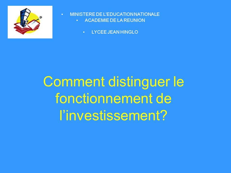 Comment distinguer le fonctionnement de l'investissement