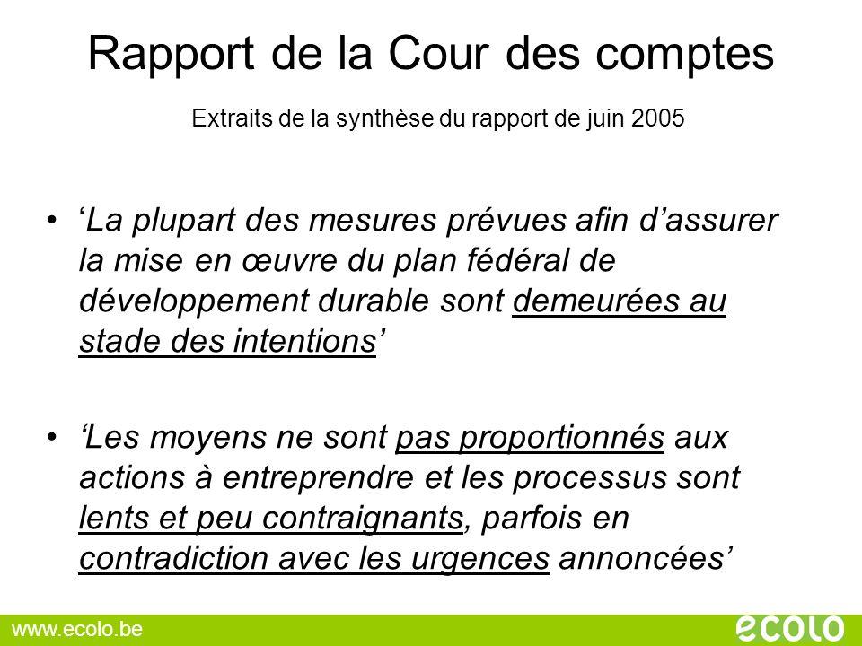 Rapport de la Cour des comptes Extraits de la synthèse du rapport de juin 2005