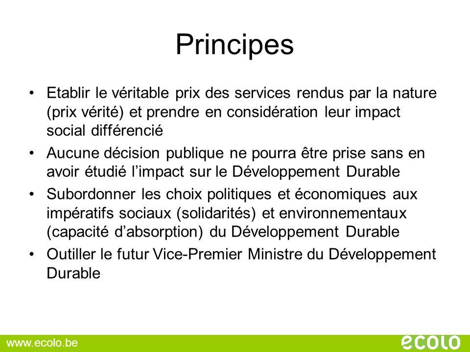 Principes Etablir le véritable prix des services rendus par la nature (prix vérité) et prendre en considération leur impact social différencié.