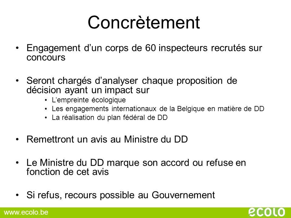 Concrètement Engagement d'un corps de 60 inspecteurs recrutés sur concours.
