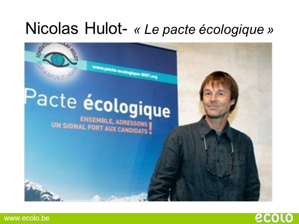 Nicolas Hulot- « Le pacte écologique »