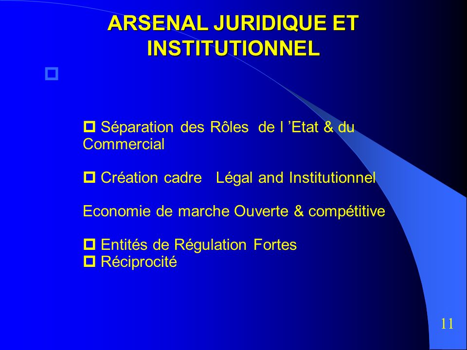 ARSENAL JURIDIQUE ET INSTITUTIONNEL