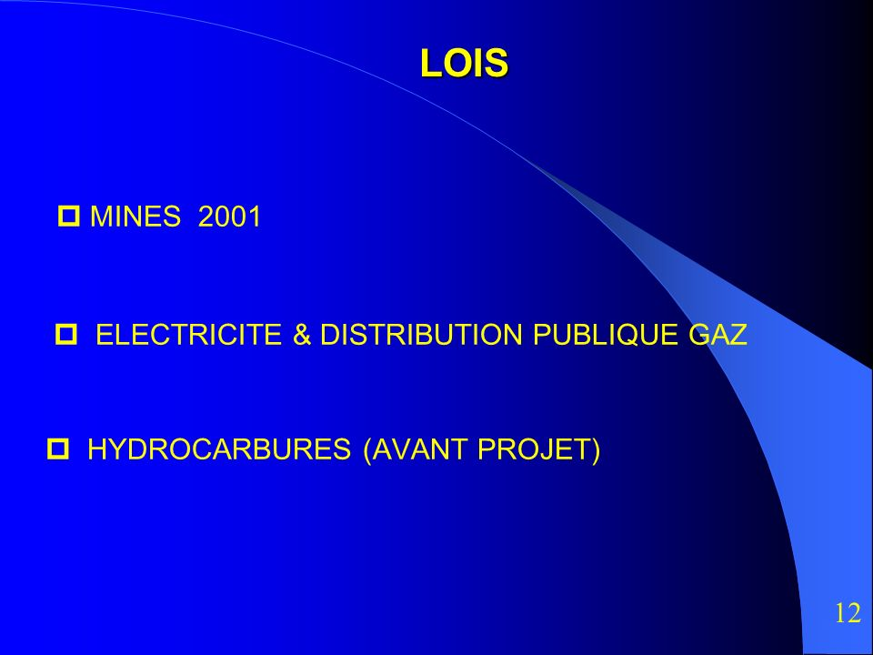 LOIS  MINES 2001  ELECTRICITE & DISTRIBUTION PUBLIQUE GAZ