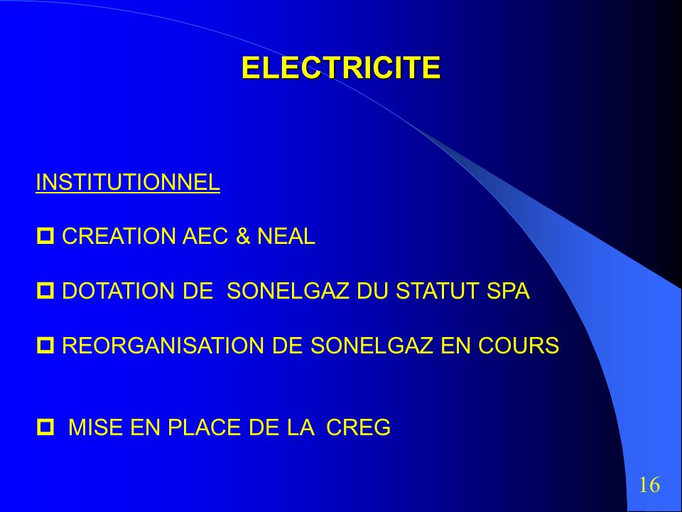 ELECTRICITE INSTITUTIONNEL  CREATION AEC & NEAL