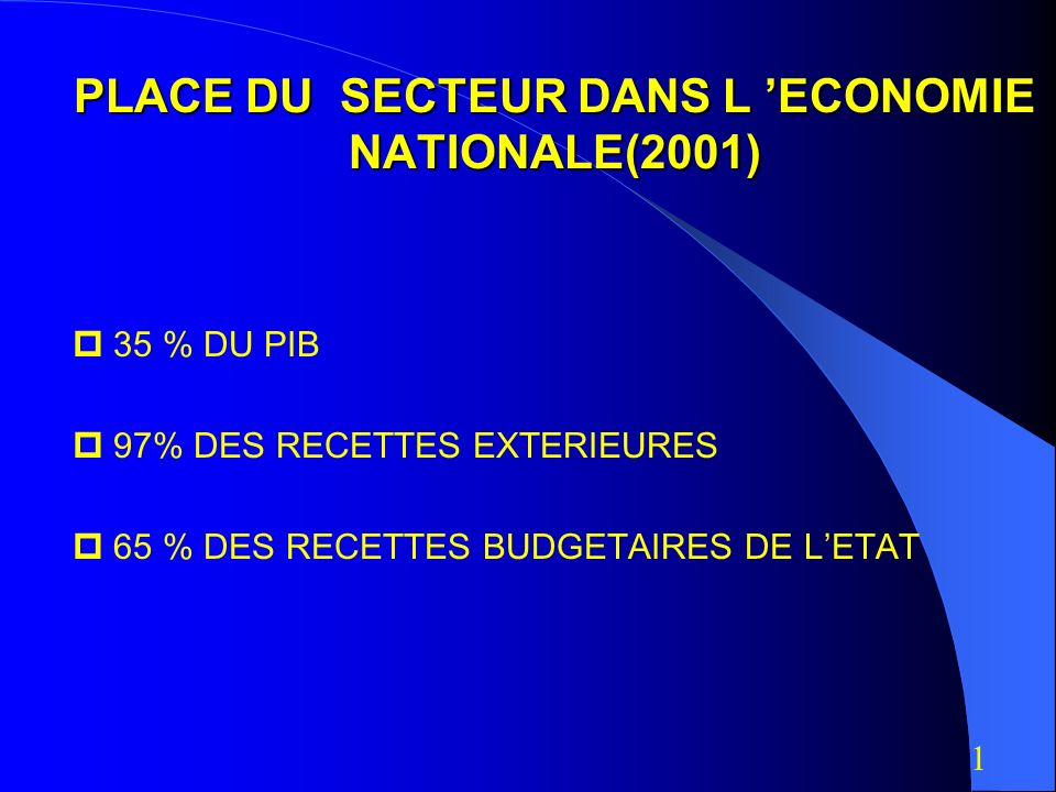 PLACE DU SECTEUR DANS L 'ECONOMIE NATIONALE(2001)