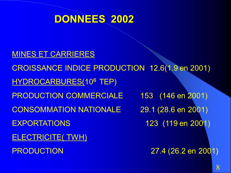DONNEES 2002 MINES ET CARRIERES