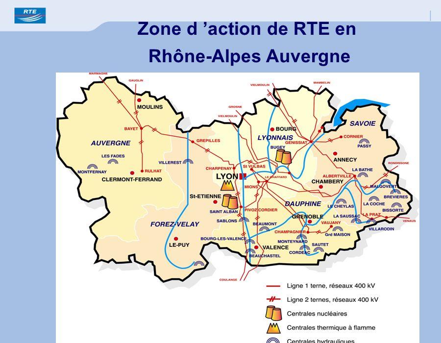 Zone d 'action de RTE en Rhône-Alpes Auvergne