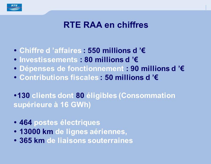 RTE RAA en chiffres Chiffre d 'affaires : 550 millions d '€