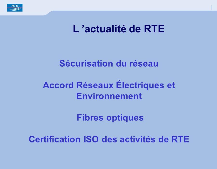 L 'actualité de RTE Sécurisation du réseau