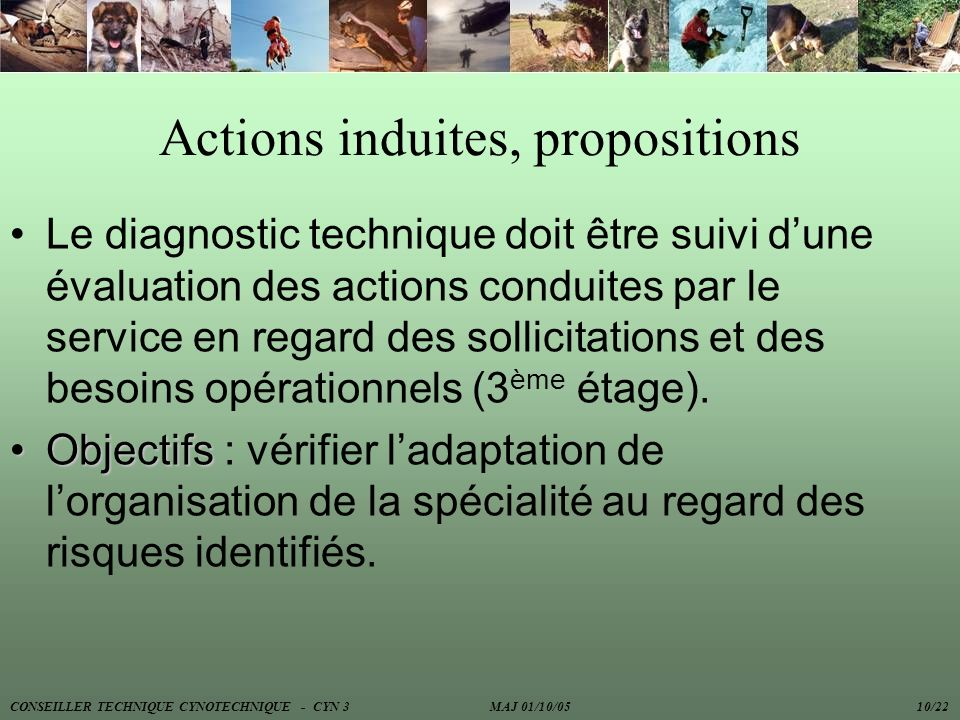 Actions induites, propositions