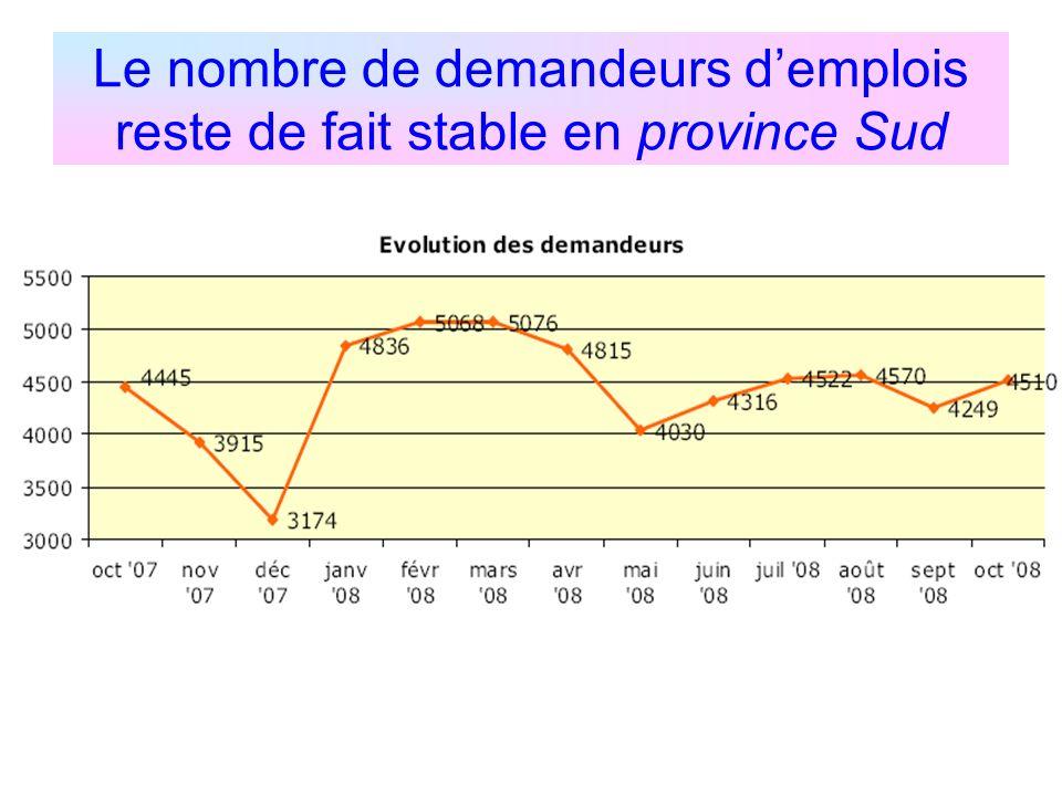 Le nombre de demandeurs d'emplois reste de fait stable en province Sud