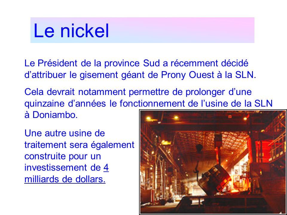 Le nickel Le Président de la province Sud a récemment décidé d'attribuer le gisement géant de Prony Ouest à la SLN.