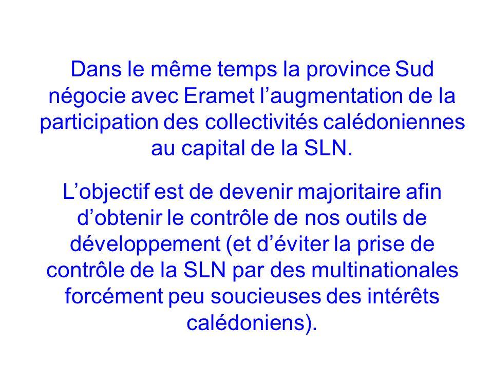 Dans le même temps la province Sud négocie avec Eramet l'augmentation de la participation des collectivités calédoniennes au capital de la SLN.