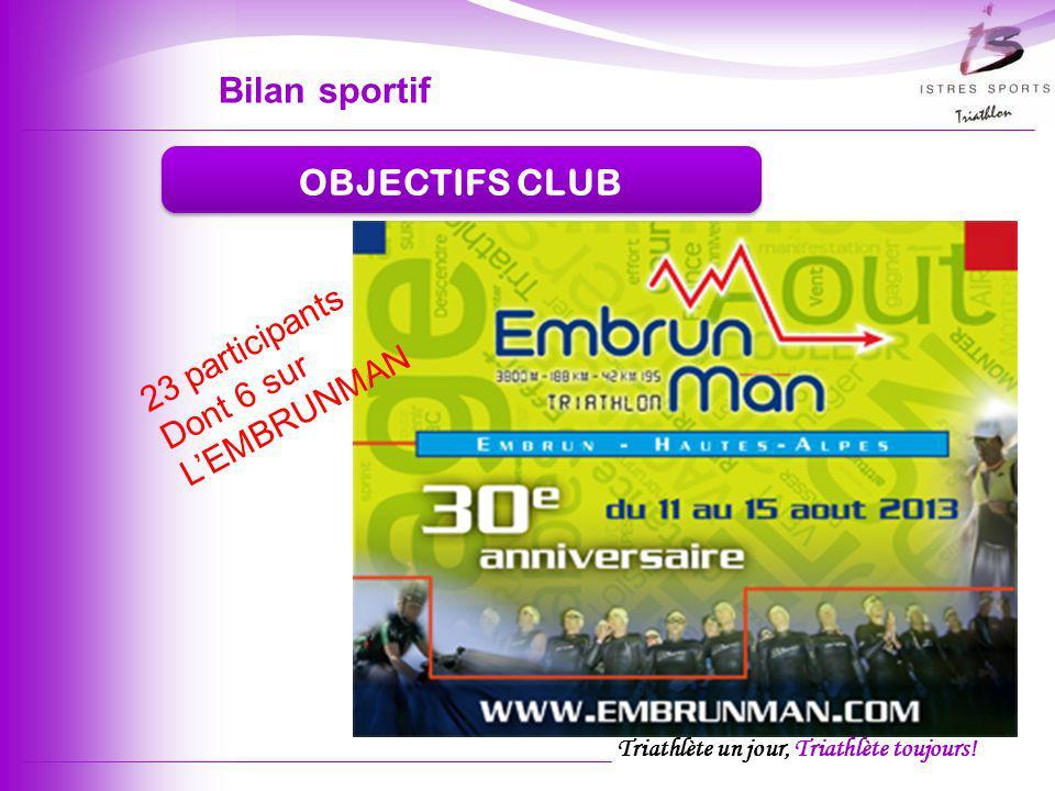 Bilan sportif OBJECTIFS CLUB 23 participants Dont 6 sur L'EMBRUNMAN