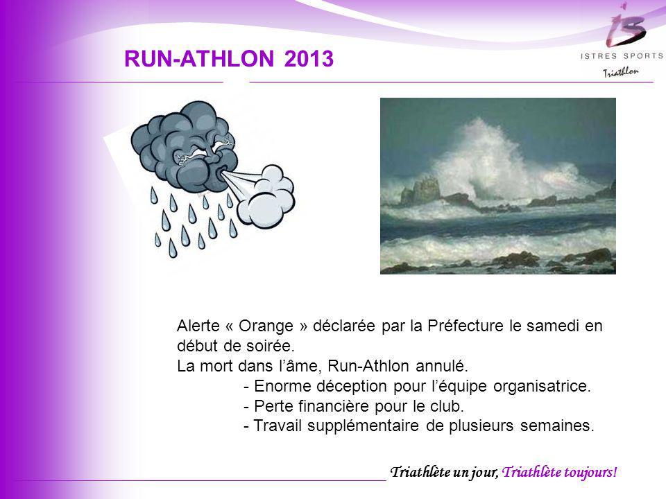 RUN-ATHLON 2013 Alerte « Orange » déclarée par la Préfecture le samedi en début de soirée. La mort dans l'âme, Run-Athlon annulé.