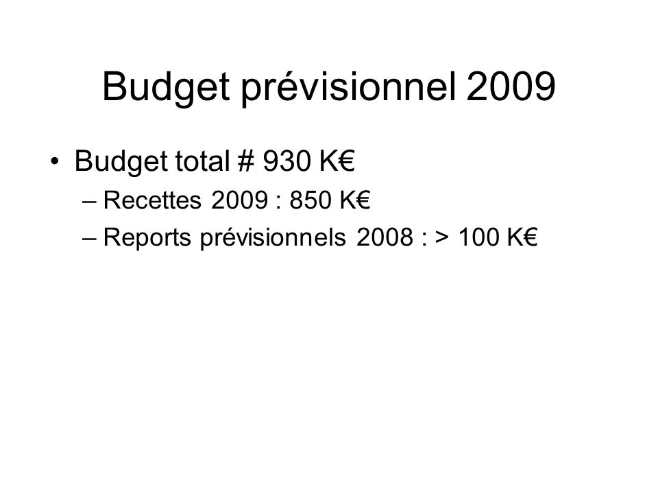 Budget prévisionnel 2009 Budget total # 930 K€ Recettes 2009 : 850 K€