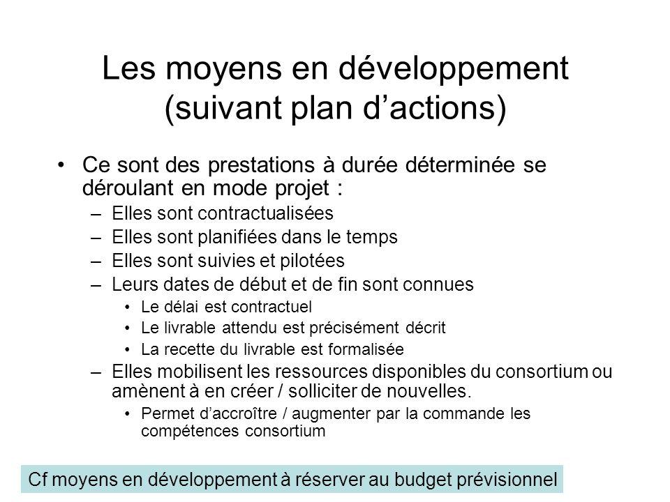 Les moyens en développement (suivant plan d'actions)