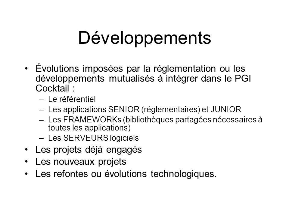 Développements Évolutions imposées par la réglementation ou les développements mutualisés à intégrer dans le PGI Cocktail :