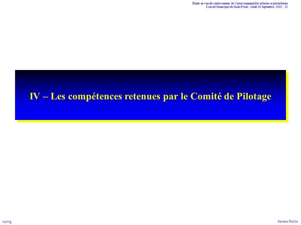 IV – Les compétences retenues par le Comité de Pilotage