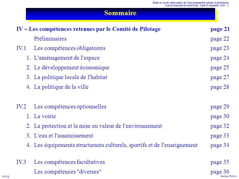 Sommaire IV – Les compétences retenues par le Comité de Pilotage page 21. Préliminaires page 22. IV.1 Les compétences obligatoires page 23.