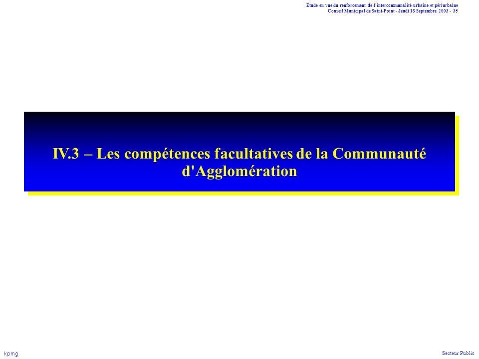 IV.3 – Les compétences facultatives de la Communauté d Agglomération