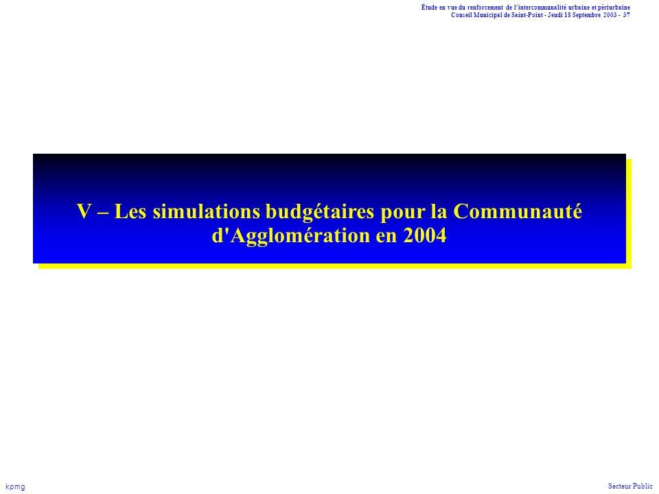 V – Les simulations budgétaires pour la Communauté d Agglomération en 2004