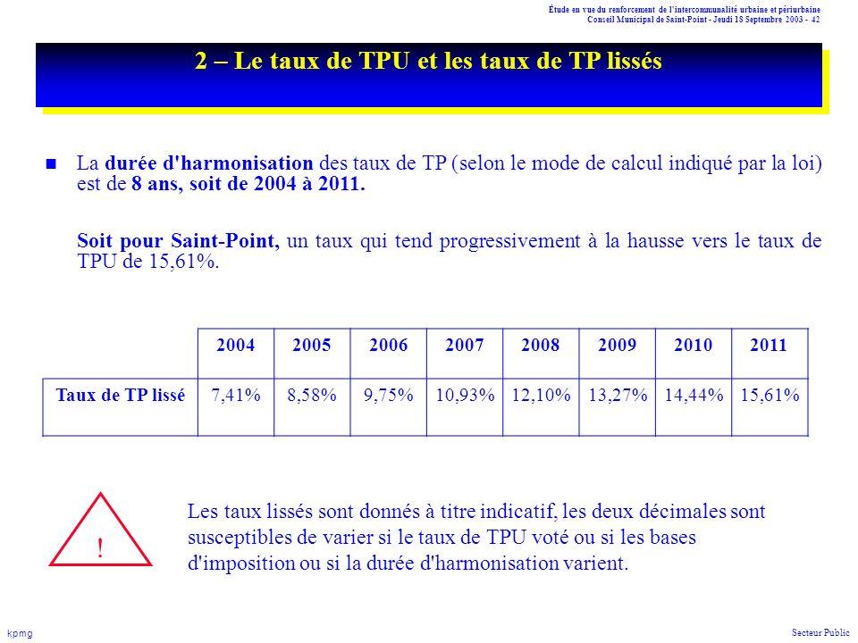 2 – Le taux de TPU et les taux de TP lissés