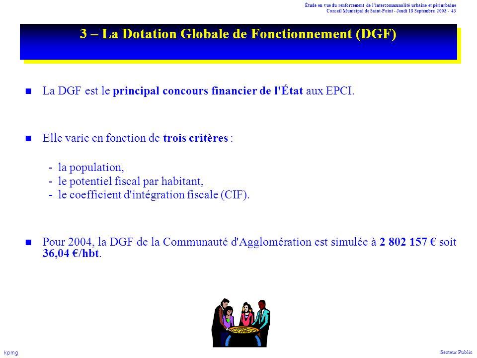 3 – La Dotation Globale de Fonctionnement (DGF)