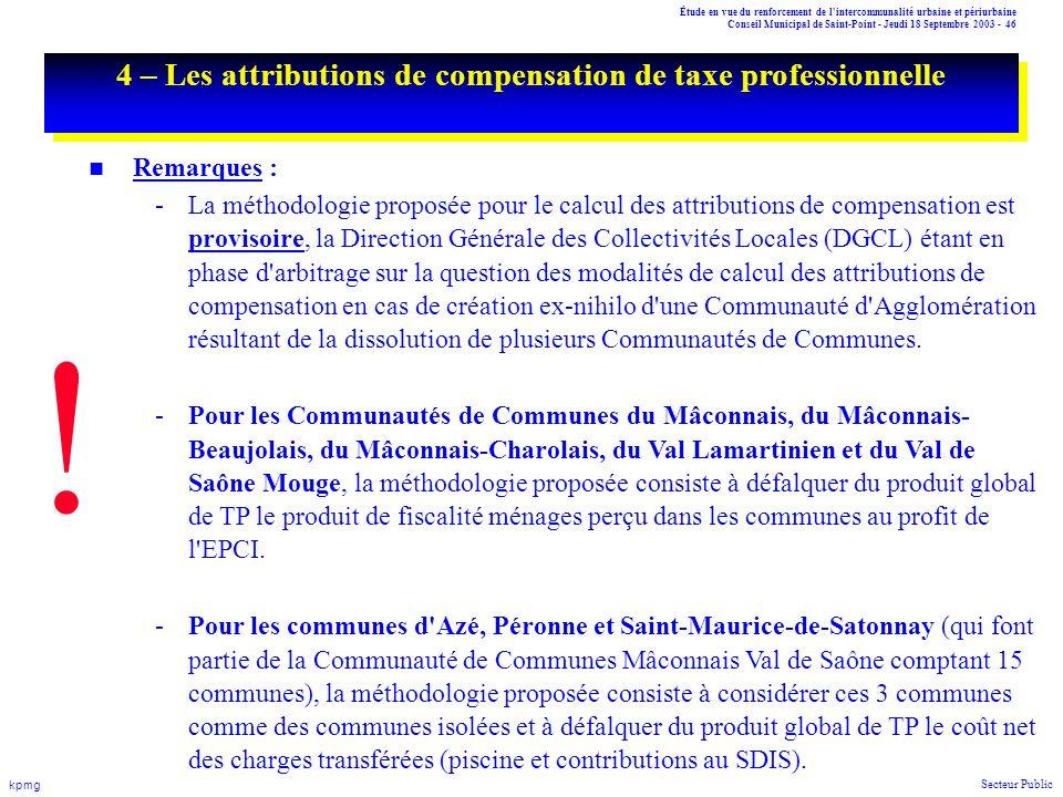 4 – Les attributions de compensation de taxe professionnelle