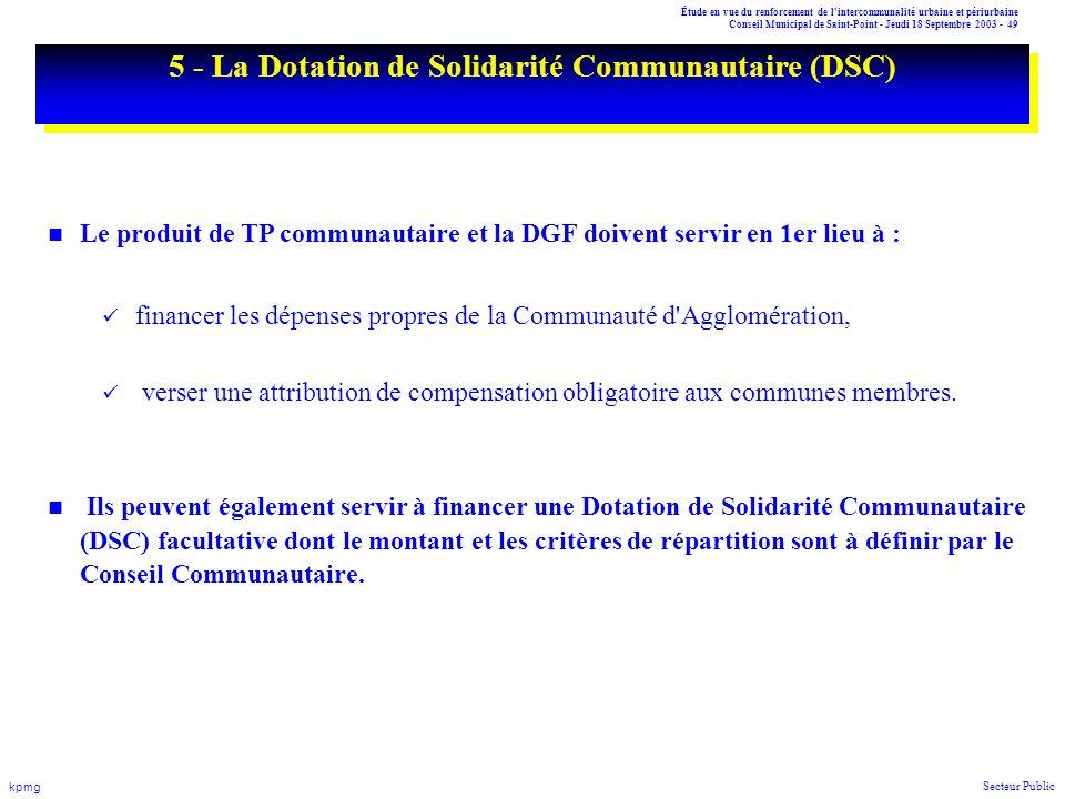 5 - La Dotation de Solidarité Communautaire (DSC)