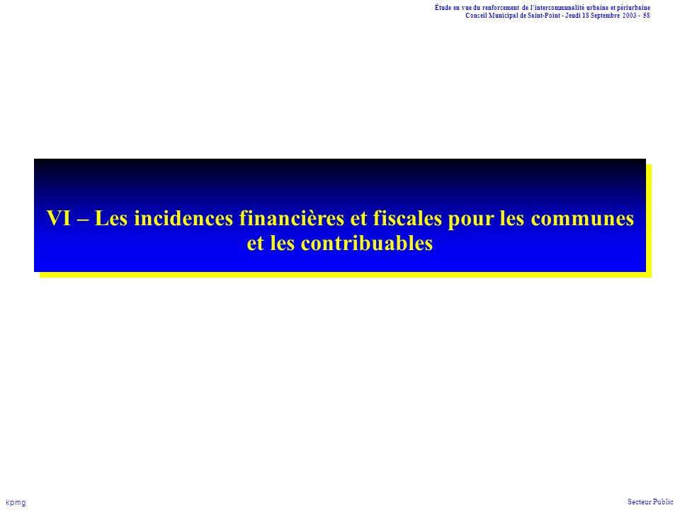 VI – Les incidences financières et fiscales pour les communes et les contribuables