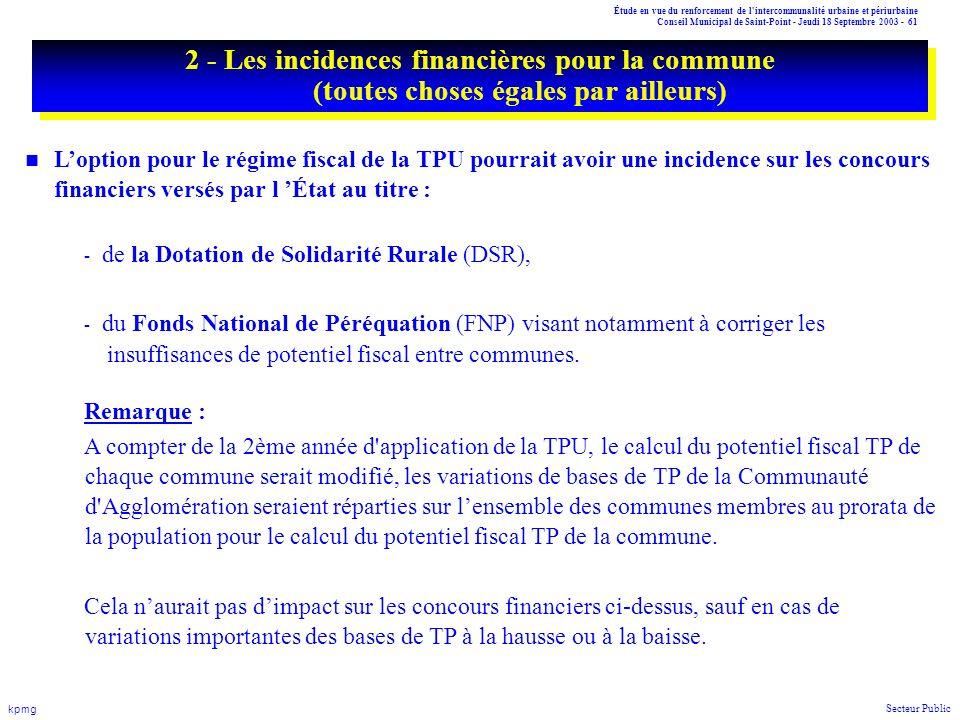 2 - Les incidences financières pour la commune (toutes choses égales par ailleurs)
