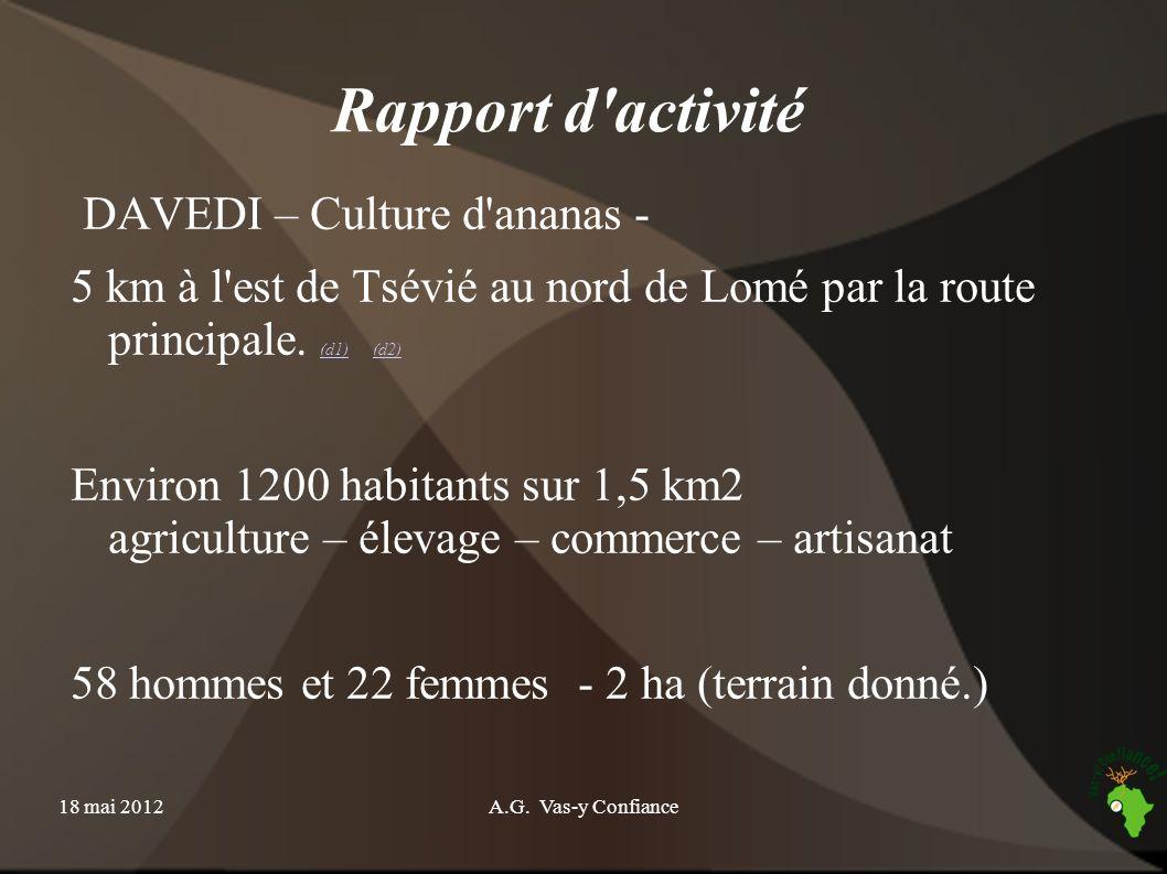 Rapport d activité DAVEDI – Culture d ananas -