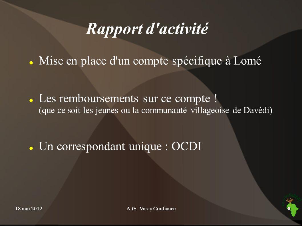 Rapport d activité Mise en place d un compte spécifique à Lomé