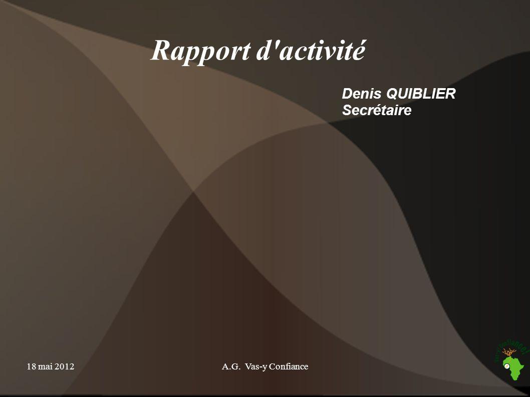 Rapport d activité Denis QUIBLIER Secrétaire 18 mai 2012