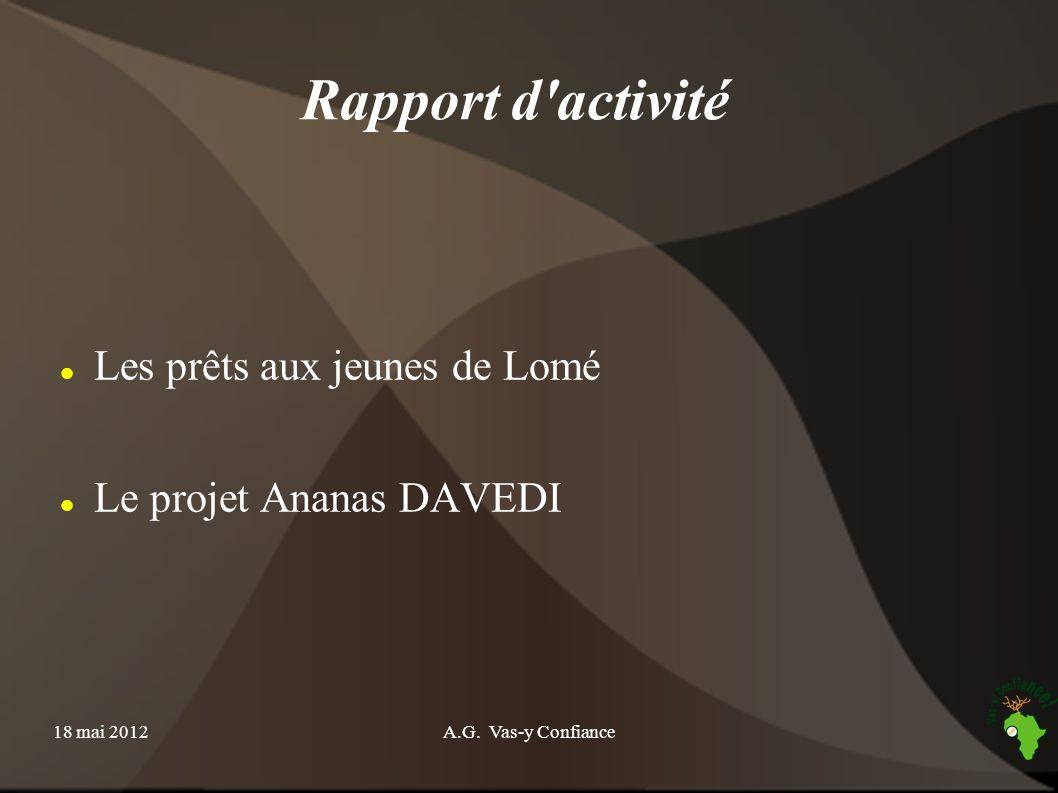 Rapport d activité Les prêts aux jeunes de Lomé
