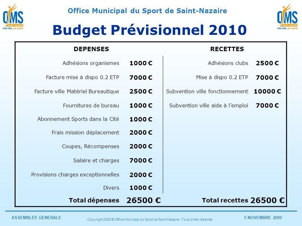 Budget Prévisionnel 2010 26500 € DEPENSES RECETTES 1000 € 2500 €